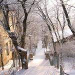 Лестница Железноводск в снегу